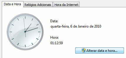 Windows 7 - Alterar Data e Hora